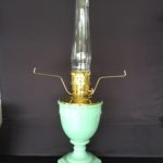 New Aladdin Oil Lamp – Jadite Green Vase Table Lamp  with White Parchment Shade