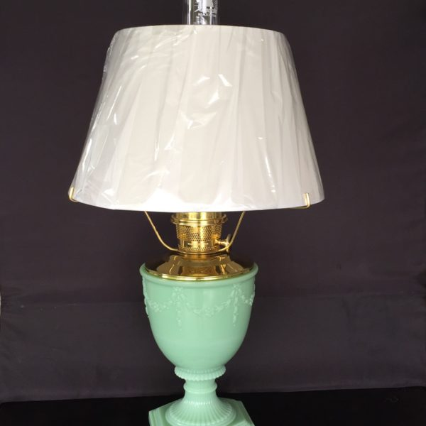 New aladdin oil lamp jadite green vase table lamp with white new aladdin oil lamp aloadofball Image collections